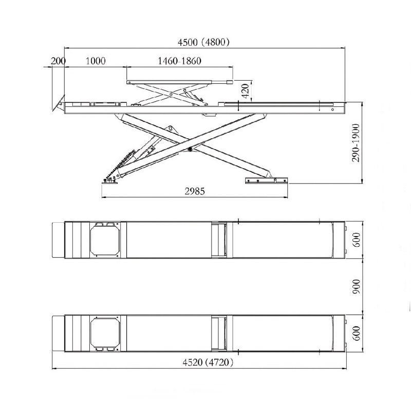 Dimension der Scherenhebebühne SXJS4523