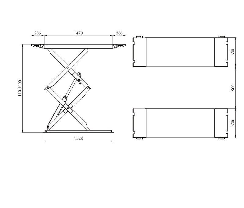 Dimension der Scherenhebebuehne SXJS3519