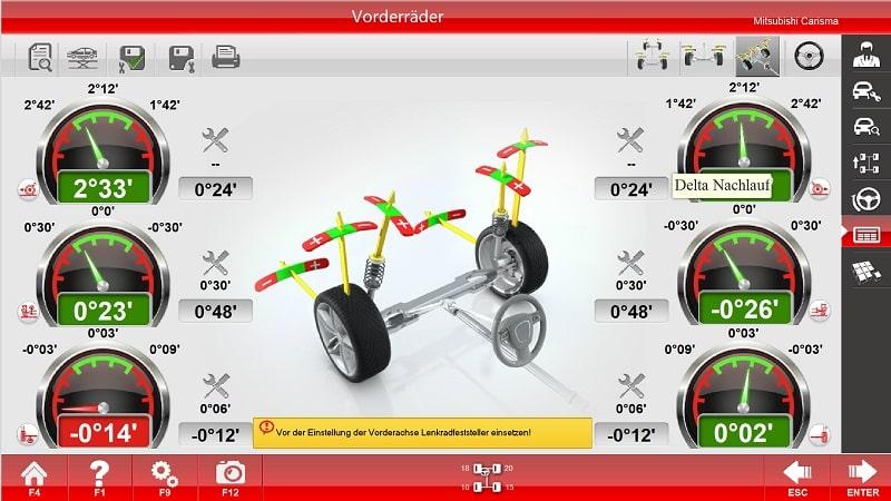 Achsvermessungssoftware von Sunshine Germany Menu