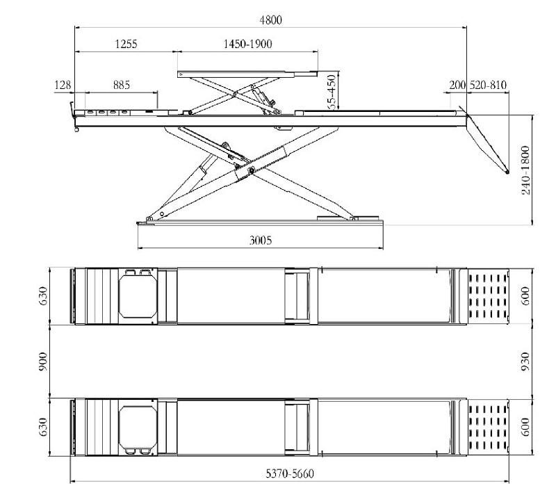 Dimension der Scherenhebebühne QJY-J-45 von Sunshine-Germany